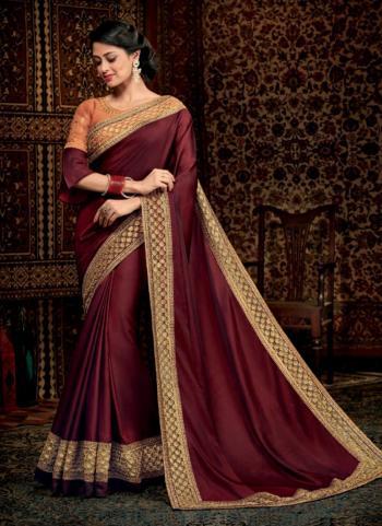 Maroon Silk Reception Wear Border Work Saree