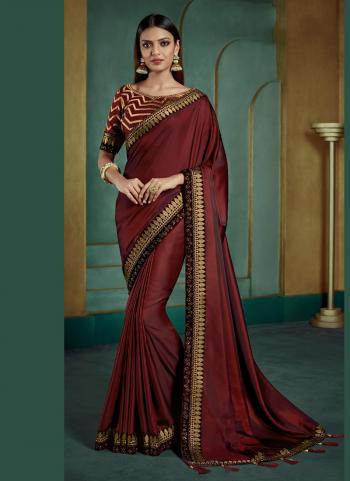 Maroon Silk Reception Wear Heavy Embroidery Work Saree