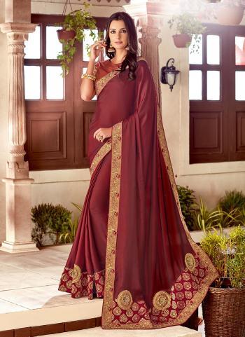 Maroon Silk Wedding Wear Embroidery Work Saree