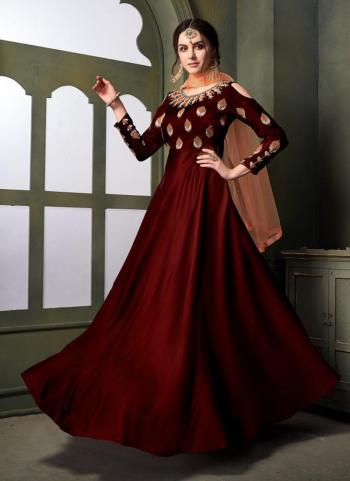 Maroon Tapeta Satin Silk Party Wear Embroidery Work Anarkali Style