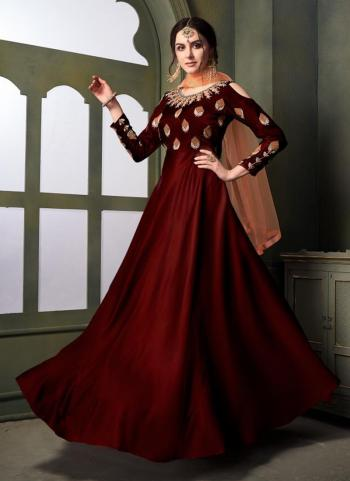 Maroon Tapeta Satin Silk Party Wear Embroidery Work Gown