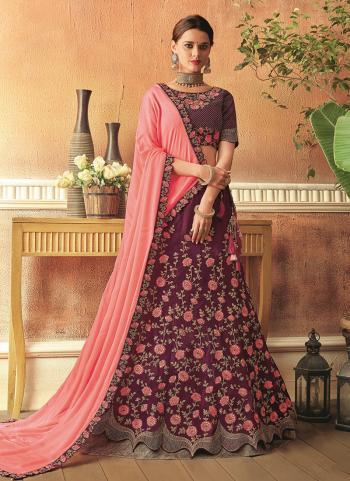 Maroon Tapeta Silk Wedding Wear Thread Work Lehenga Choli