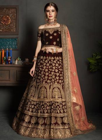 Maroon Velvet Bridal Wear Embroidery Work Lehenga Choli