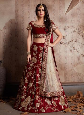 Zari Embroidery Work Maroon Velvet Silk Bridal Wear Lehenga Choli
