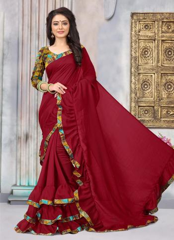 Maroon Vichitra Silk Daily Wear Lace Work Saree