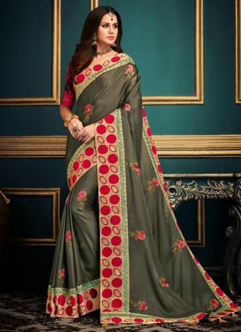 Mehendi Fancy Silk Reception Wear Embroidery Work Saree