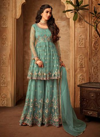 Mint Net Wedding Wear Embroidery Work Sharara Suit