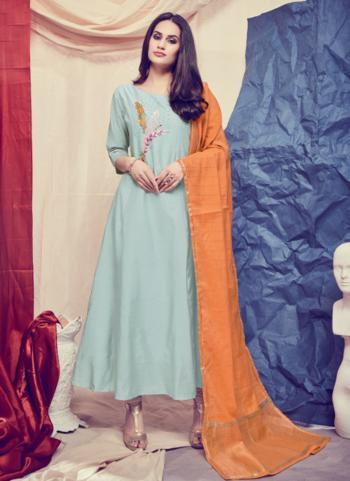 Mint Silk Festival Wear Hand Work Kurti With Dupatta