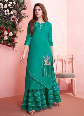 Modal Silk Green Casual Wear Embroidery Work Kurti With Sharara