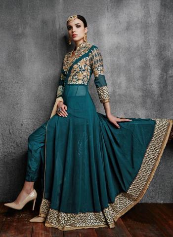 Morpich Faux Georgette Party Wear Embroidery Work Anarkali Suit