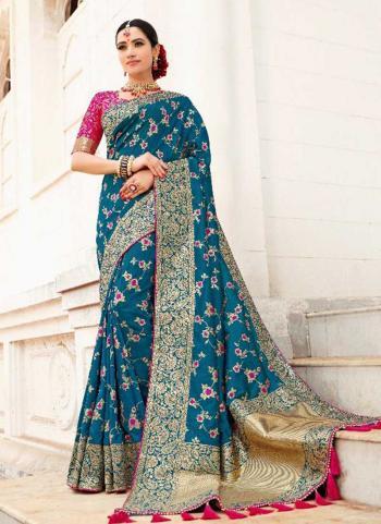 Morpich Silk Reception Wear Embroidery Work Saree