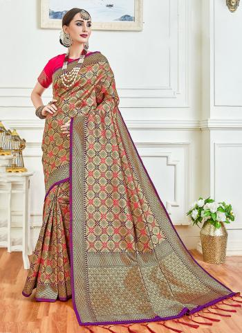 Multi Color Art Silk Wedding Wear Weaving Saree