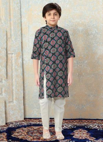 Multi Color Cotton Festival Wear Printed Work Kids Kurta Pajama