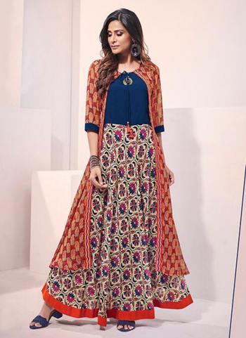 Multi Color Muslin Viscose Party Wear Digital Print Gown