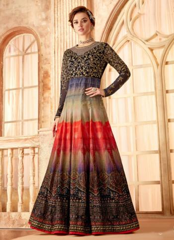 Multi Color Velvet Wedding Wear Embroidery Work Anarkali Suit