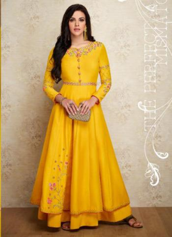 Muslin Silk Yellow Festival Wear Embroidery Work Gown
