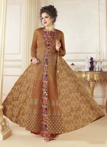 Mustard Chanderi Party Wear Digital Print Gown