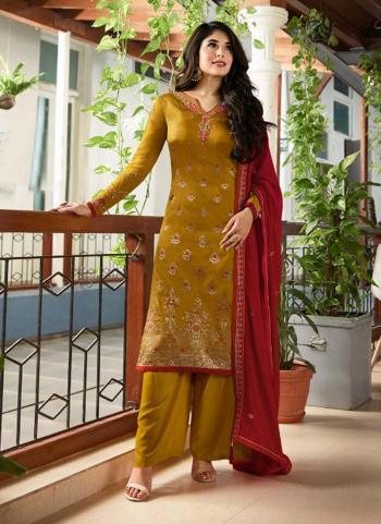 Mustard Jacquard Festival Wear Meenakari Work Churidar Style