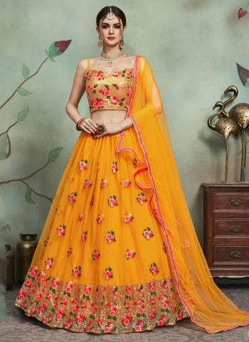 Mustard Net Reception Wear Sequins Work Lehenga Choli