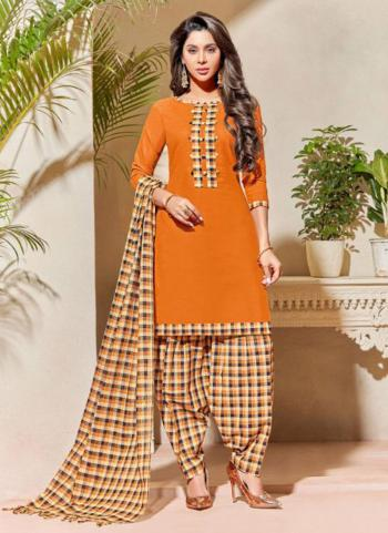 Mustard South Handloom Cotton Casual Wear Plain Patiala Suit