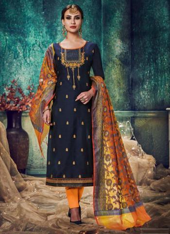 Navy Blue Banarasi Chanderi Casual Wear Khatli Work Ready Made Churidar Suit
