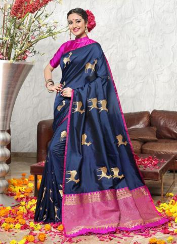 Navy Blue Banarasi Silk Casual Wear Zari Work Saree