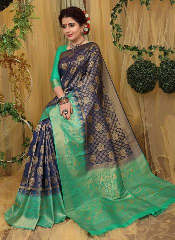 Unique Reception Wear Navy Blue Brocade Silk Zari Work Saree
