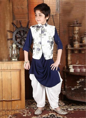 Navy Blue Cotton Satin Party Wear Printed Work Kids Dhoti Kurta