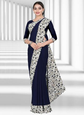 Buy Daily Wear Navy Blue Crepe Printed Work Uniform Saree