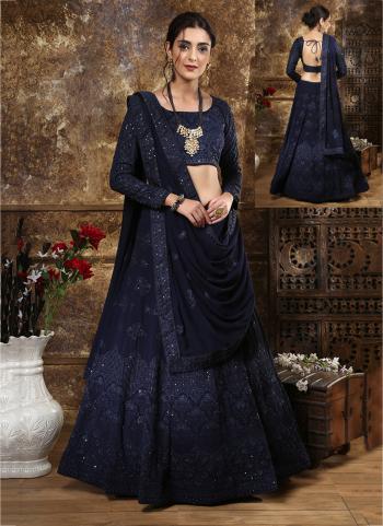 Navy Blue Georgette Bridal Wear Sequins Work Lehenga Choli