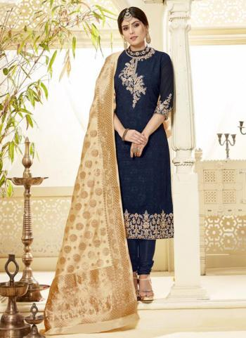 Navy Blue Georgette Casual Wear Embroidery Work Churidar Suit