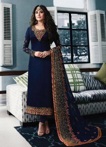 Navy Blue Georgette Festival Wear Embroidery Work Churidar Suit