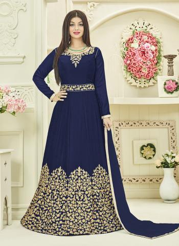 Navy Blue Georgette Party Wear Embroidery Work Anarkali Style