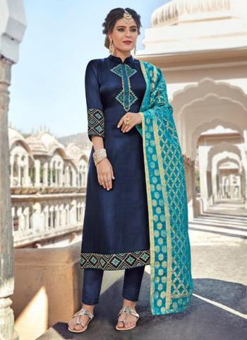 Navy Blue Georgette Satin Party Wear Embroidery Work Churidar Suit