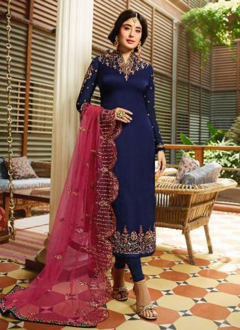 Navy Blue Georgette Satin Wedding Wear Embroidery Work Churidar Suit
