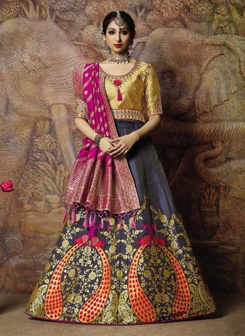 Desiring Reception Wear Navy Blue Jacqaurd Silk Thread Work Lehenga Choli