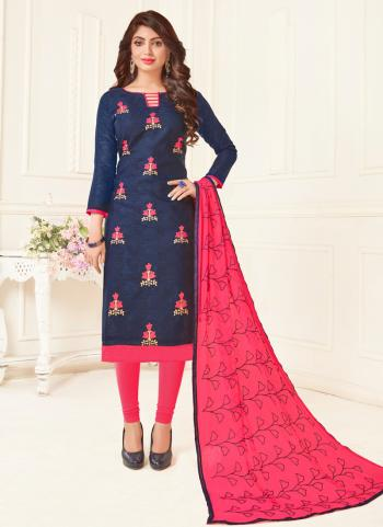 Navy Blue Jacquard Casual Wear Embroidery Work Churidar Suit