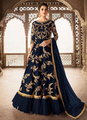 Navy Blue Net Wedding Wear Thread Work Anarkali Suit