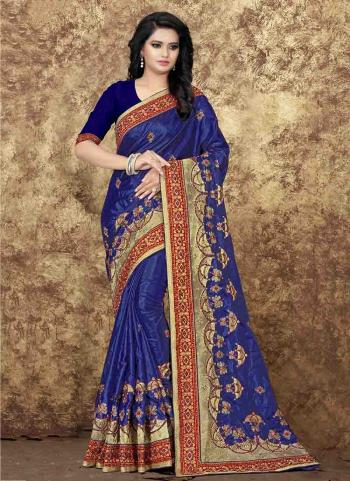 Navy Blue Paper Silk Reception Wear Embroidery Work Saree