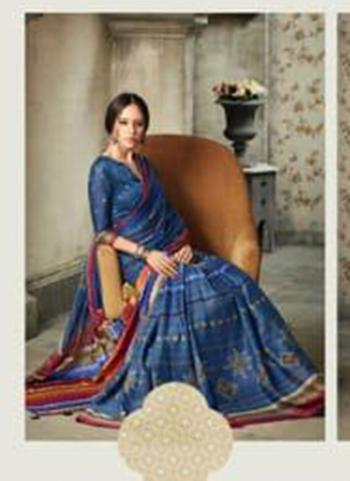 Navy Blue Pure Crepe Silk Casual Wear Printed Work Saree