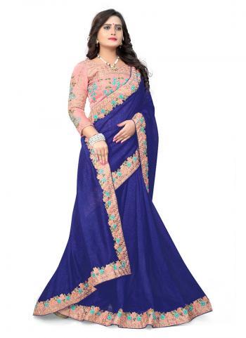 Navy Blue Silk Festival Wear Lace Work Saree