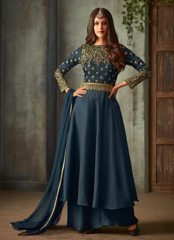 Metallic Silk Party Wear Embroidery Work Anarkali Suit