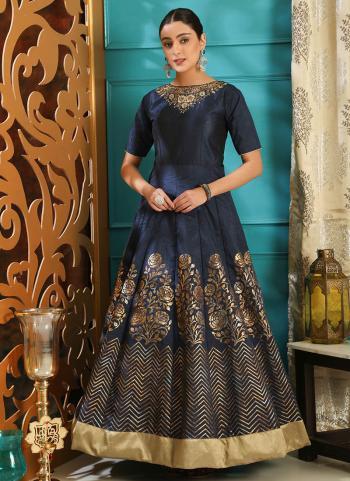 Navy Blue Silk Wedding Wear Cutdana Work Gown