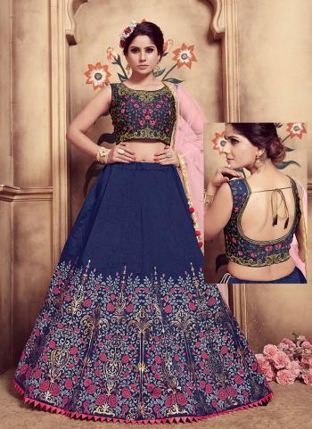 Navy Blue Silk Wedding Wear Cutdana Work Lehenga Choli