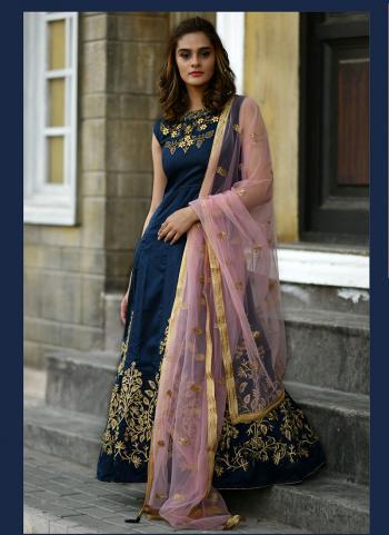 Navy Blue Silk Wedding Wear Sequins Work Gown