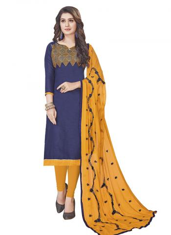 Navy Blue South Cotton Casual Wear Embroidery Work Churidar Style
