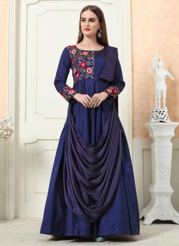 Navy Blue Tapeta Silk Wedding Wear Embroidery Work Gown