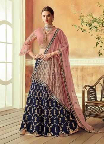 Navy Blue Tapeta Silk Wedding Wear Thread Work Lehenga Choli