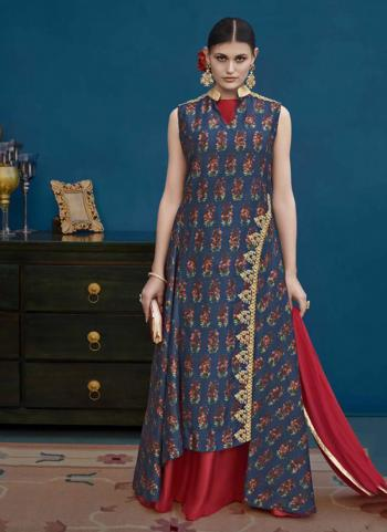 Navy Blue Thapa Silk Reception Wear Embroidery Work Salwar Suit