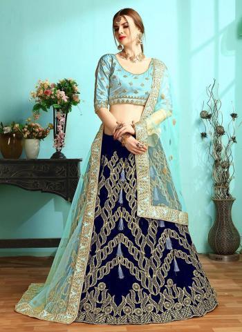 Indian Bridal Wear Navy Blue Velvet Zari Work Lehenga Choli